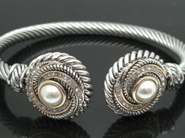 18K White GP Pearl Bangle Cable Lead Free Bracelet - $110.00