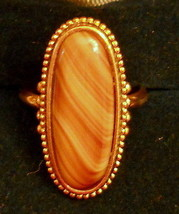 70' Vintage Gold Plated Statement Ring Marble Caramel Setting size 8 Nic... - $24.70