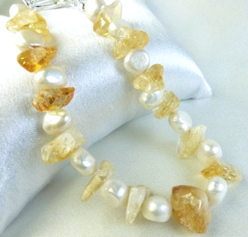 Citrine gemstone nugget white freshwater pearl bracelet yellow 8 inch b4848e57 607572 1