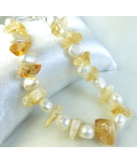 Citrine Gemstone Nugget White Freshwater Pearl ... - $26.00