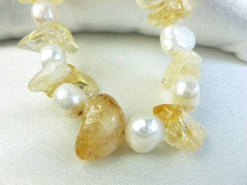 Citrine gemstone nugget white freshwater pearl bracelet yellow 8 inch 6e61be06 400784 1