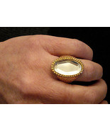 Faceted Mirror Stone COCKTAIL RING Gold Plate Costume Jewelry size 9 Nic... - $17.77