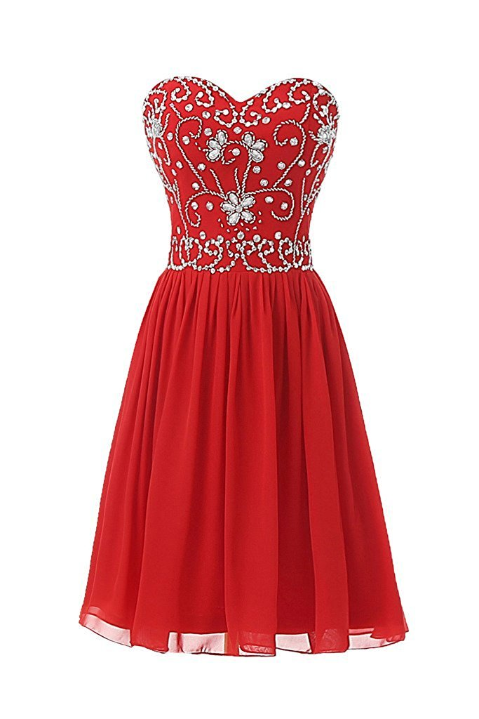 Primary image for Short Red Sweetheart Chiffon Beading Prom Homecoming Party Dresses for Juniors