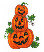 Pumpkin Trio fall halloween cross stitch chart Imaginating - $5.40