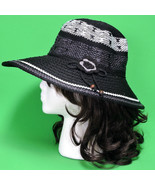 Large Black Hand Decorated Knitted Polyester Ladies Sun Hats - $12.95