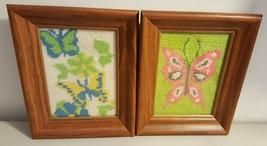 Hand Made Framed Needlepoint -- Set of 2 -- Butterfly Butterflies - £8.16 GBP