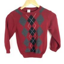 Gymboree Boys Argyle Long Sleeve Sweater Size 5 6 Red Gray Black White Holiday - $7.84