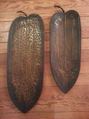 Primary image for SET OF 2 LARGE BRONZE DISTRESSED METAL LEAF WALL OR TABLE  DECOR