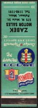 Vintage matchbook cover DODGE PLYMOUTH Zabek Motor Sales Palmer Massachu... - $8.99