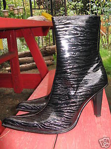 Primary image for Black Patent zebra madonna punk ankle stiletto boot 10 UK7.5 39