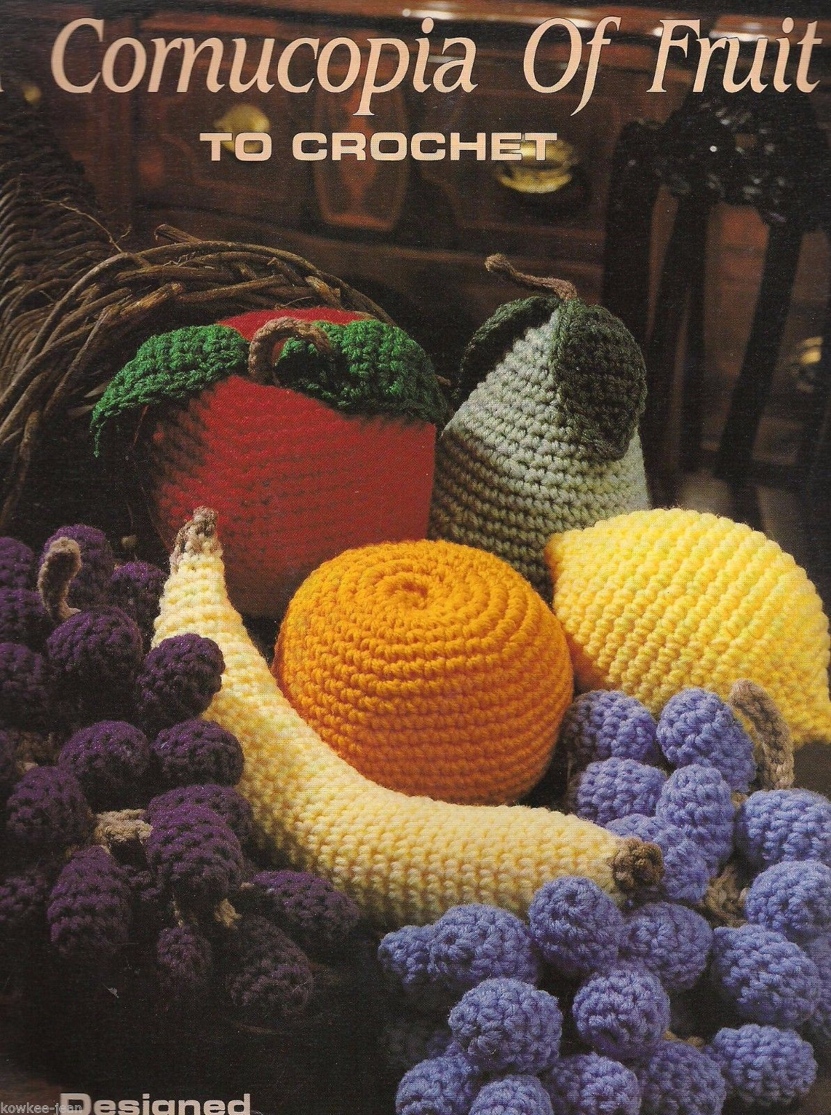 Primary image for Cornucopia of Fruit crochet patterns: apple orange lemon pear grapes banana Vtg
