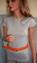 Long M Medium Gray Cotton T-SHIRT TUNIC TOP witn Orange Leather Belt Set... - $19.99
