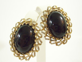 Paolo Gucci Jet Black Oval Cabs Gold Plate Ornate Frame Clip on Earrings... - $26.68