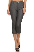 ICONOFLASH Women's Pull on Capri Jeggings - Cotton Blend (Gray, LXL) [Apparel] - $17.81