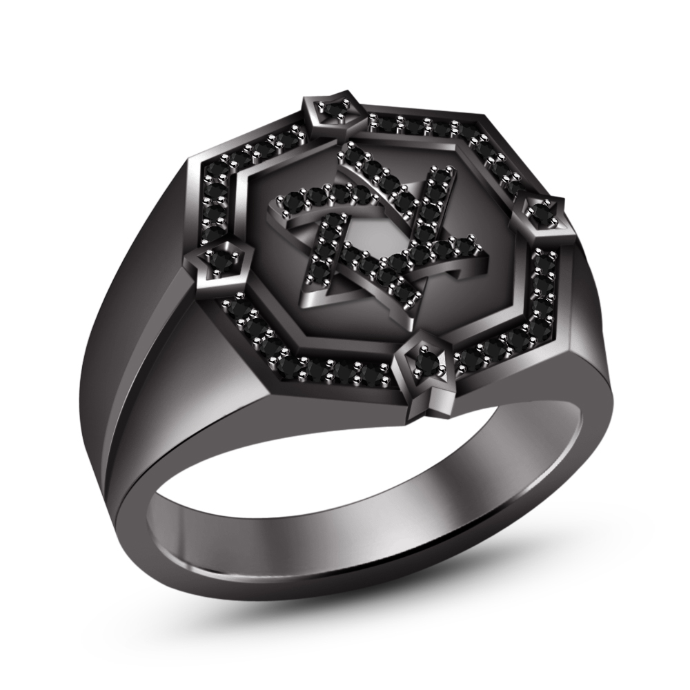 Primary image for 18k Black Rhodium Plated 925 Pure Silver Brilliant Cut Black CZ Men's Star Ring