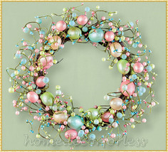 Pastel Easter Egg Spring Berry Grapevine Wreath Hanging Door Wall Home D... - $25.99