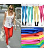 ac13 Celeb Style 80s Shiny Neon Metallic Coloured Gym Workout Fitness Le... - $10.46+