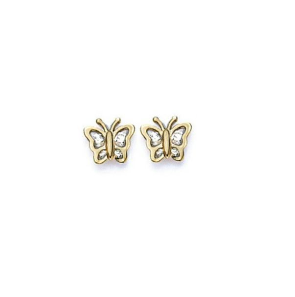 Primary image for 14K Gold Screw Back Butterfly Earrings