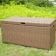 Pool Outdoor Storage Deck Wicker Bench Container Yard Bin 70 Gallon Box ... - $155.59