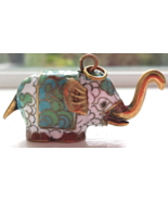 Vintage Cloisonne Elephant Trunk Up Pendant Jewelry White Blue Green Gold - $39.95