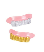 100 Bling Grill Grillz Fake Teeth Bulk  Wholesale Birthday Party Gold Si... - $43.99