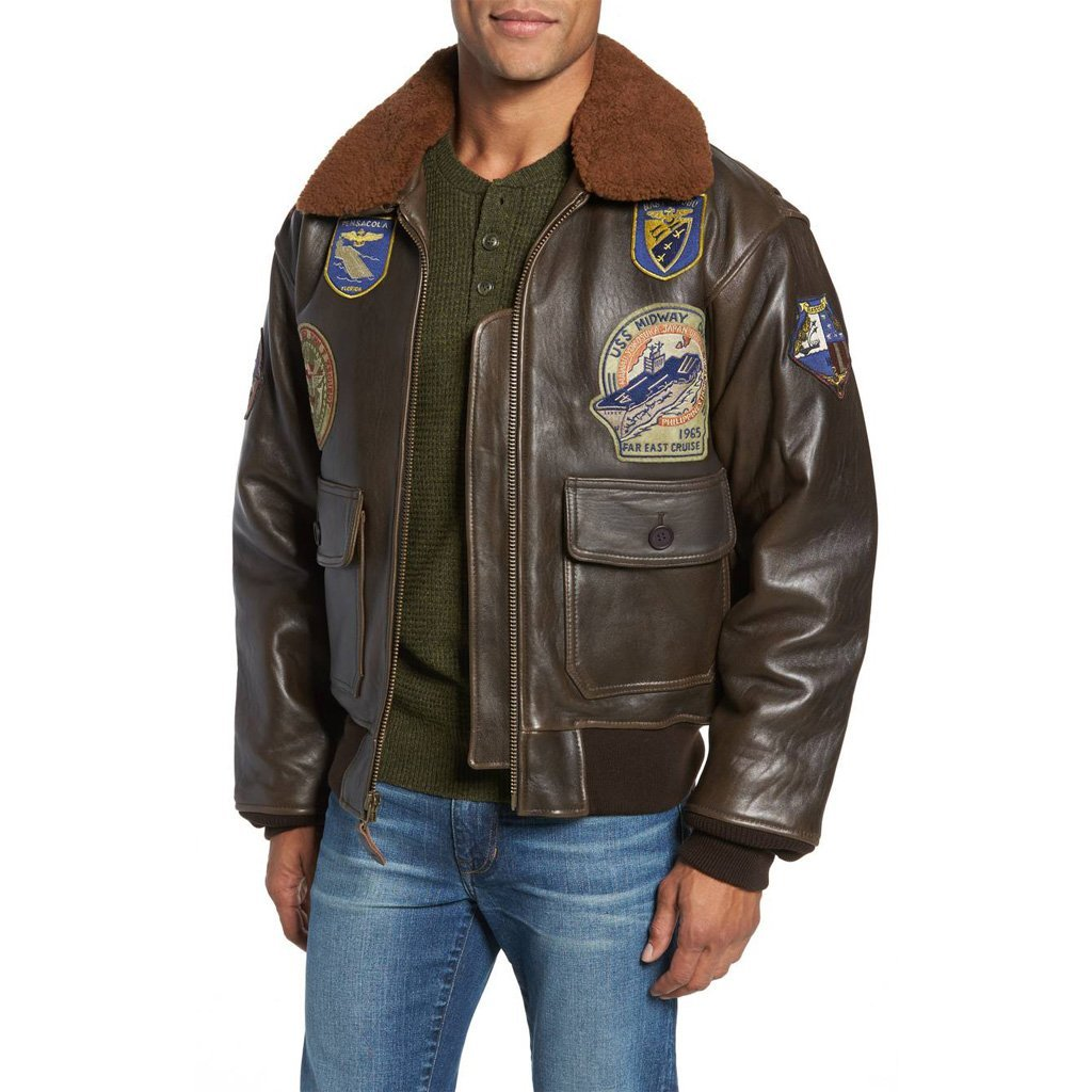 FLIGHT MILITARY  MEN LEATHER JACKET
