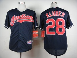 #28 Corey Kluber Navy Blue Cleveland Indians MLB Jersey  - $37.99