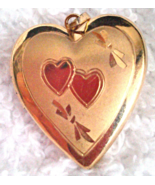 """Sweetheart Locket 14K GF Two Hearts Etched Designer Signed """"MA"""" - $12.50"""