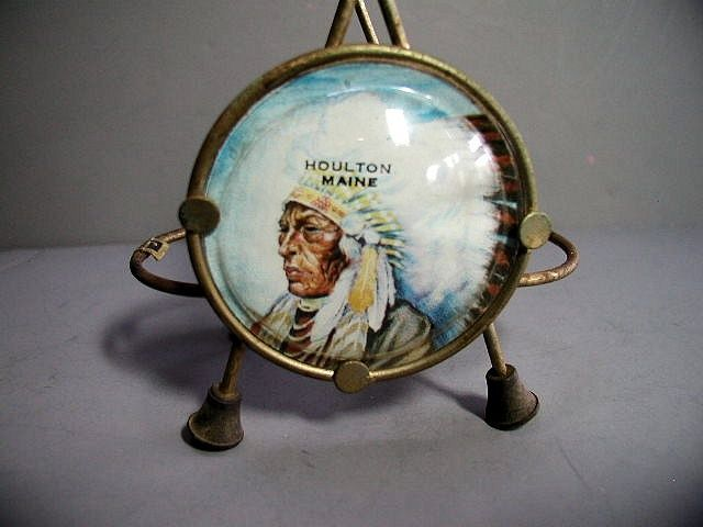 Primary image for Vintage Houlton ME Condiment Holder Indian Chief On Disk, Very Nice