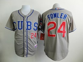 #24 Dexter Fowler Gray Pinstripe Chicago Cubs Majestic MLB Jersey - $37.99