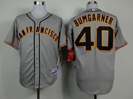 #40 Madison Bumgarner Gray San Francisco Giants Majestic MLB Jersey 2015 - $37.99