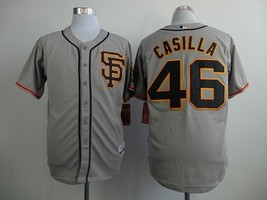 #46 Santiago Casilla Gray San Francisco Giants Majestic MLB Jersey 2015 - $37.99