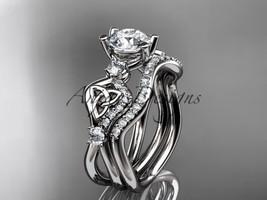 14kt white gold celtic trinity knot engagement set, Moissanite  CT768S - $2,325.00