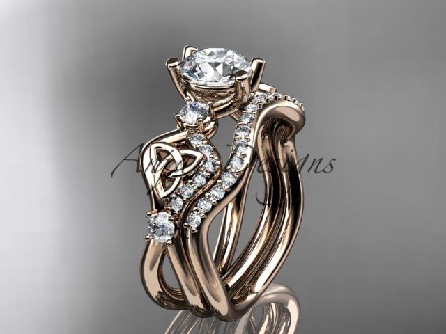 Primary image for 14kt rose  gold celtic trinity knot engagement set, Moissanite  CT768S