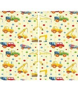"Curtains 108""W x 84""L Construction Trucks Print Backdrop 13103 - $38.09"