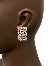 1.1/8 Long Deco Style Clip On Earrings AB Rhinestones Drag Queen Pageant Bridal - $15.68