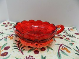 Fostoria Coin Glass Red Nappy Bowl Finger Loop  Candy Dish - $0.98