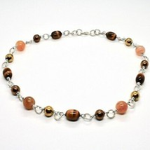 Necklace the Aluminium Long 48 Inch with Tiger's Eye Jade and Hematite image 1