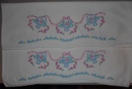 Vtg Pair Standard Pillow Cases Embroidered Crocheted Edge Baskets of Flo... - $12.19