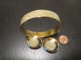 Vintage Monet Gold & Sage Green Swirl Enamel Bracelet & Pierced Earring Set - $6.93