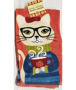 "2 SAME COTTON KITCHEN TERRY TOWELS (15""x25"") FALL, CAT IN GLASSES W/COFF... - $15.83"