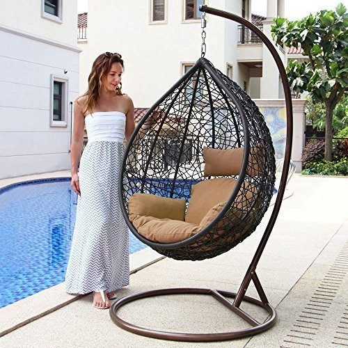 Island Gale Hanging Basket Chair Outdoor Front Porch Furniture with Stand and Cu image 1