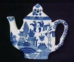 Blue Willow Porcelain Teapot Tea Pot Teapot Trivet Hot Mat Plate New - $24.22