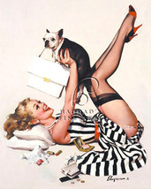 Lucky Dog by Gil Elvgren Sexy Pin UP Canvas Giclee Nearly Nude Risque - $167.31