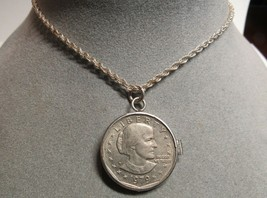 Sterling Silver Susan B Anthony $1 Dollar Coin Bezel Mounted Pendant 18 ... - $49.49
