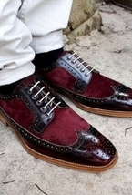 Handmade Men's Burgundy Leather & Suede Wing Tip Brogues Dress/Formal Shoes image 1
