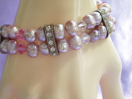 PEARLY LAVENDER Bracelet PINK Faux Pearls 2 Strand Rhinestones Glass Bea... - $14.84