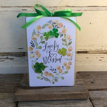 AGD St Patrick's Decor - Lucky and Blessed Simple Wreath Wood Sign - $13.95