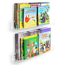 NIUBEE Acrylic Invisible Floating Bookshelf 2 Pack,Kids Clear Wall Books... - $48.59