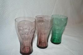 3 MCDONALDS COCA COLA COKE GLASSES ANTIQUE COLLECTIBLE - $7.90